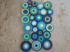 Hey, I found this really awesome Etsy listing at https://www.etsy.com/listing/125390936/modern-circles-wall-hanging-ocean-blue