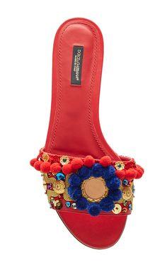 Pom Pom Embellished Leather Slides by DOLCE & GABBANA Now Available on Moda Operandi