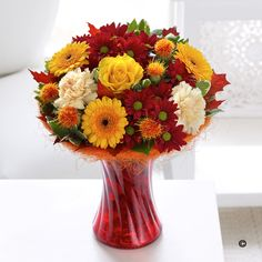 Autumn Shades Perfect Gift The array of rich colours is one of the pleasures of the season and this eye-catching vase arrangement captures the vibrant mood perfectly. Shades of burgundy, amber, gold and burnt orange – all complementing each other in one brightly coloured gift that is really to display