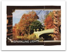 SPARKLING LIGHTS handmade collage art greeting card with envelope by MaterialWhirlCollage