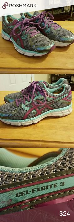 Asics ladies running shoes Asics GEL- Excite 3 in good condition size 8.5 these were my wife's shoes and wore them to the gym still a lot of life in these shoes cant wait to make some new feet happy. Colors are grey, purple, mint green. Asics Shoes Sneakers