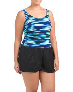 Plus Flash Stripe Romper Swimsuit