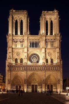 Paris, Notre Dame at night - the celebrated west facade has exerted a considerable influence throughout Europe, due to its unrivalled balance and harmony.