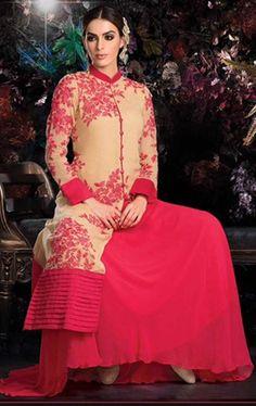 Picture of Flamboyant Beige and Pink Designer Lehenga Kameez Set