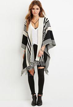 FOREVER 21 Gradated Stripe Sweater Poncho
