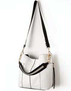 Black and White Large Slouch Tote Bag