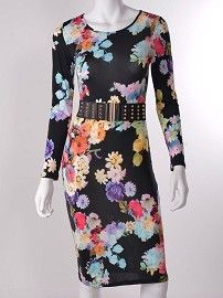 Floral Print Longsleeve Midi Dress- Black #dresses #floralprint #longsleeve #kneelength