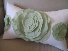 Trio Of Roses Pillow in White Linen and Sage Green by dedeetsyshop, $35.00