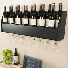 wall mounted wine shelf | Prepac Floating 18 Bottle Wall Mount Wine Rack