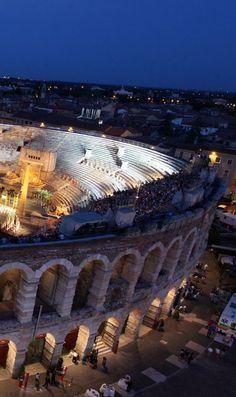 L'Arena di Verona, Italy The Verona Arena (Arena di Verona) is a Roman amphitheatre in Piazza Bra in Verona, Italy built in 1st century.: