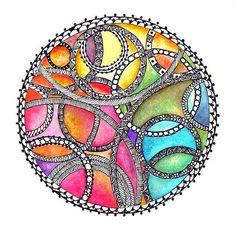 mandala zentangle with color Tangle Doodle, Tangle Art, Zen Doodle, Doodle Art, Zentangle Drawings, Doodles Zentangles, Zentangle Patterns, Easy Zentangle, Art Patterns