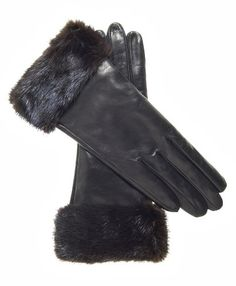 Fratelli Orsini Women's Italian Cashmere Lined Leather Gloves with Mink Cuff Size 6 1/2 Color Black *** Click image for more details.