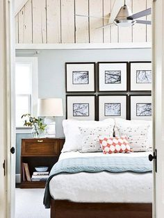 Don't have a headboard? Create one with custom framing. You can use photos (as shown here), other types of art, or even fabric or wallpaper panels.