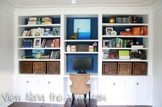 Room Reveals - various rooms. Love this bookshelf/desk wall