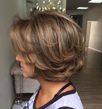Long layered, piecy chunky chin length bob! Love it!