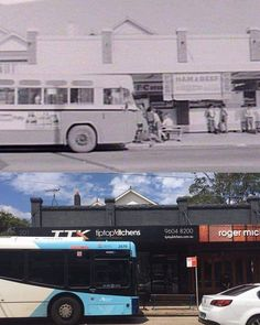 Lyons Road bus stop near Janet Street, Five Dock, 1972 & 2017. Photo: Phil Harvey #sydney #history http://fat.ly/83o9 (Instagram Image from @beliefmedia, 19th February 2017 3:36pm).