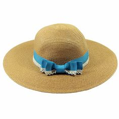 Brown Straw Hat with Blue Lace Band,http://www.merx2go.com/shopexd.asp?id=6536