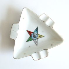 OES Lefton Ashtray Masons OES Order of the Eastern Star, 1950s Mid Century Lefton China Ashtray, Masonic Lodge Collectible    I love that these