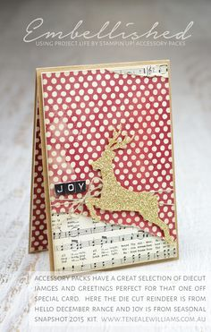 christmas card - leaping deer - - sheet music - note - red white - By Teneale Williams Noel Christmas, Christmas Music, Handmade Christmas, Holiday Cards, Christmas Cards, Stampin Up Weihnachten, Hello December, Decoupage, Beautiful Handmade Cards