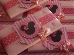 Pink Minnie Mouse birthday party favors! See more party planning ideas at CatchMyParty.com!