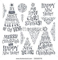 -Vector set of holidays lettering and ornamental elements. Merry Christmas and Ha… Vector set of holidays lettering and ornamental elements. Merry Christmas and Happy New Year text lettering for invitation and greeting card, prints. Happy New Year Text, Merry Christmas And Happy New Year, Happy New Year Letter, Christmas Wishes, Christmas Greetings, Xmas Cards, Holiday Cards, Greeting Cards, Holiday Gifts