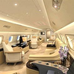 Interior of a private jet.
