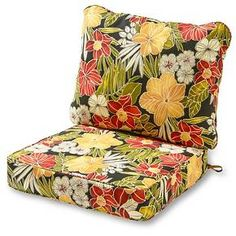 """Enhance the look and feel of your patio furniture with this Greendale Home Fashions Deep Seat Cushion Set. The seat cushion measures 25'' x 25'' x 5"""" and comes with a zipper closure, the back pillow measures 28'' x 22'' x 5"""" and is sewn closed. The poly-wrapped foam seat cushion retains it's firm shape. This set is the perfect replacement for many wrought iron and rattan original chair sets. Each cushion is overstuffed for extra com..."""