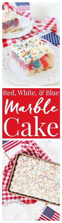 This+Red,+White,+and+Blue+Marble+Sheet+Cake+is+made+with+an+adapted+cake+box+mix+and+topped+with+a+whipped+white+chocolate+frosting.+It's+the+perfect+patriotic+dessert+for+the+4th+of+July!+via+@sugarandsoulco