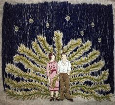 Michelle Kingdom - The last constellations of stars fell in bunches - embroidery on linen Embroidery Art, Cross Stitch Embroidery, Creative Embroidery, Textiles, Textile Design, Textile Art, Collages, Contemporary Embroidery, Kawaii