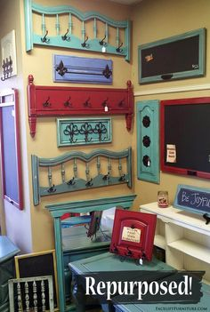 Head and footboards repurposed in to coat racks, and cabinet doors repurposed into chalk boards! From Facelift Furntiures DIY Blog