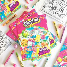 Coloring time at a Shopkins birthday party! See more party ideas at CatchMyParty.com!