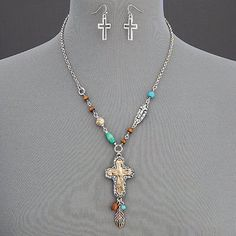 ALERT!  REDUCED!!!  Silver  Chain Cross Stone Set. Silver chain, cross Stone Tassel Unique Hammered  Pendant Necklace with Earrings.  Lobster claw closure. The necklace has accents of turquoise. Jewelry Necklaces