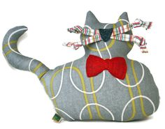 Extra Durable Dog Toy  Large Grey Fat Cat DOUBLE by wagsandwiggles, $16.99