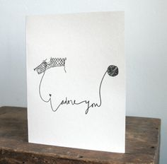 """hand drawn card """"i adore you"""""""