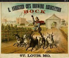 Another twist on goat carts: angry racing goats and beer! An Old Anheuser Busch Bock beer advertisement.