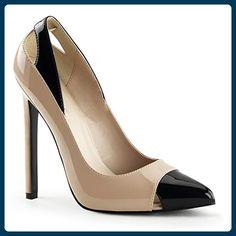 Pleaser Sexy-22 High Heels Fetisch Pumps Lack Schwarz Beige Creme 35-45 Übergrösse, Größe:EU-45 / US-14 / UK-11 - Damen pumps (*Partner-Link)