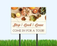 Get your elegant fall outreach bandit signs from the Sprout Shop. #outreachmarketing #fallmarketing #multifamily