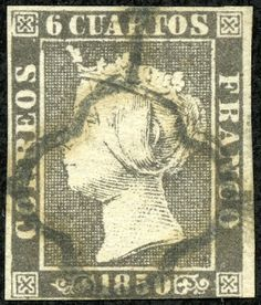 Spain  1850 Scott 1 6c black, thin paper, Type II Queen Isabella II Lithography, Imperforate