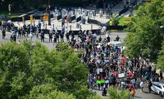 Protesters gather outside Bank of America Stadium in Charlotte, NC on Sunday, September 25, 2016. The Carolina Panthers hosted the Minnesota Vikings in NFL action.