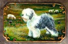 Old English Sheepdog Hand Painted Porcelain Plaque