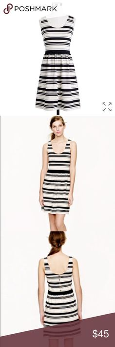 J. Crew Villa tank dress in stripe XS black cream This cotton knit dress boasts a button-up back and a fitted bodice with a flirty skirt. Done in a classic nautical stripe, this breezy little piece sails smoothly from the beach to a backyard barbecue or anywhere the day takes you.  Thick material so you won't see undergarments showing. Pairs beautifully with a cardigan and a leather belt. Excellent used condition!  Fitted. Cotton/rayon jersey. Falls above knee. Unlined.  Back button closure…