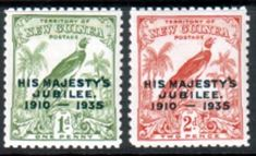 New Guinea 1935 King George V Silver Jubilee Set Fine Mint SG 206 207 Scott 46 47 Other New Guinea Stamps HERE