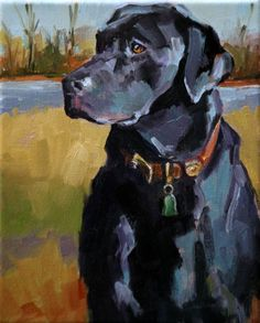 Original Fine Art By © Carol Carmichael in the DailyPaintworks.com Fine Art Gallery #DogPainting