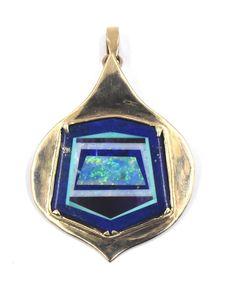 MODERNIST NICOLAI MEDVEDEV LAPIS BLACK OPAL INTARSIA INLAY PENDANT PIN 14K GOLD | Jewelry & Watches, Vintage & Antique Jewelry, Fine | eBay!