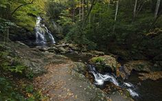 Upper and Lower Spruce Flats Falls ultra wide wallpaper Great Smoky Mountains, Focal Length, Waterfall, Flats, Wallpaper, Pictures, Travel, Outdoor, Flat Shoes Outfit
