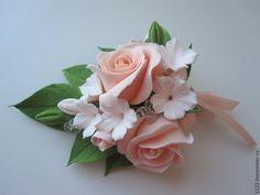 Купить Бутоньерка - оранжевый, бутоньерка, цветы ручной работы, свадьба, свадебные аксессуары, полимерная глина