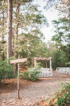 Wedding sign on rustic pitchfork -- easy to stick in the ground!