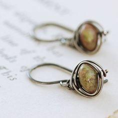 Autumn Gemstone Earrings Sterling Silver Jasper Wire Wrapped Handmade