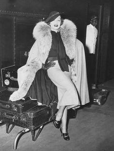 Marlene Dietrich at Gare St.Lazare,1938.