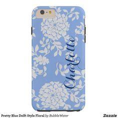 Pretty Blue Delft Style Floral Tough iPhone 6 Plus Case